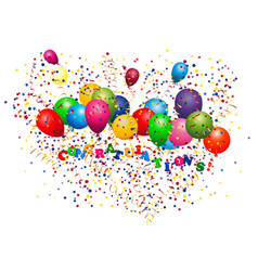 Color glossy balloons colored confetti with vector