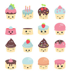 Cute cakes character with eyes cute cakes vector