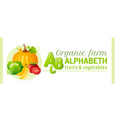 Alphabet infographics food fruit and vegetable vector