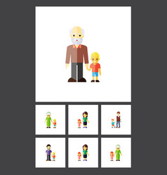 flat icon people set of boys mother grandchild vector image
