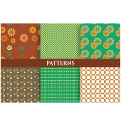 Retro set of six floral patterns - brown green vector