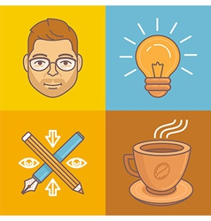Graphic designer icons and signs vector
