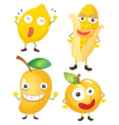Fruits and vegetables in yellow vector