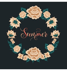 Floral frame roses summer time vector