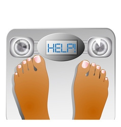 Graphic of feet on a scale machine vector