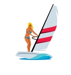 Female windsurfing cartoon vector