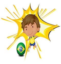 A football player from Brazil vector image vector image