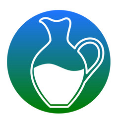 amphora sign white icon in bluish circle vector image