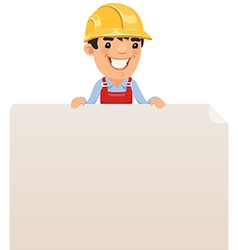 builder looking at blank poster on top vector image vector image