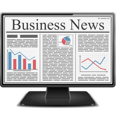 Business news in computer vector
