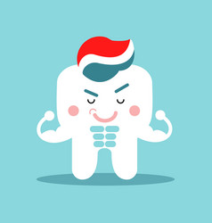 cute cartoon muscular tooth character with vector image