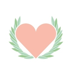 Cute floral wreath with heart decorative vector
