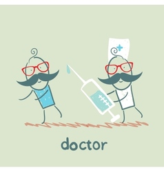 Doctor runs to a syringe for patient vector image vector image