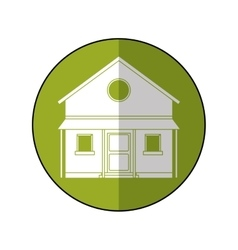Familiy house countryside green circle vector