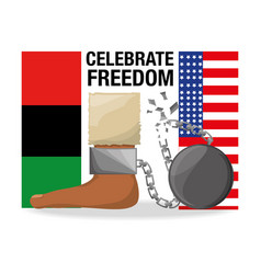 Flah and chain in the foot to celebrate freedom vector
