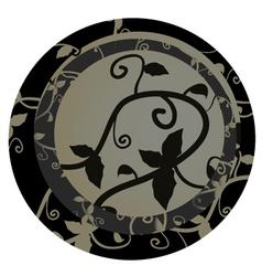 Floral decorative emblem vector