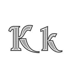 Font tattoo engraving letter k with shading vector