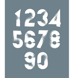 Handwritten white numbers stylish numbers set vector image