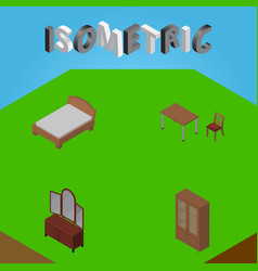 Isometric furniture set of drawer bedstead vector