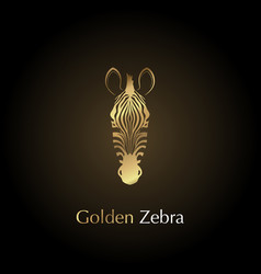 logo golden head of a zebra vector image vector image