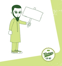 Middle eastern man with sign vector