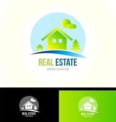 Mountain cabin real estate house logo icon vector image vector image