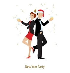 Ney year or xmas party line style vector