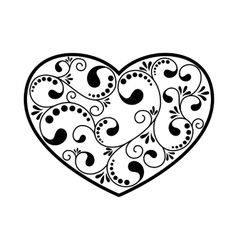 Ornamental black heart vector