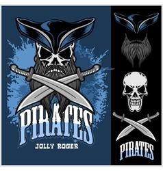 Pirate Skull in hat with Cross Swords vector image vector image