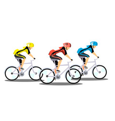 racing three cyclists on white background vector image