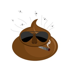 Serious Shit turd in dark glasses and cigar vector image