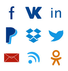 Set of social media colorful web icons vector