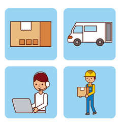 set of worker logistic delivery truck cardboard vector image