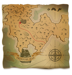 ship or boat and treasure on old map vector image