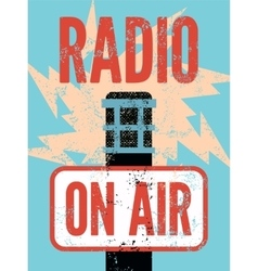 Typographic retro grunge radio station poster vector