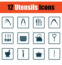 Utensils icon set vector image
