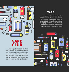 Vape club promotional vertical posters with vector
