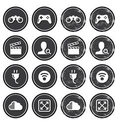 Web navigation icons on retro labels set vector image
