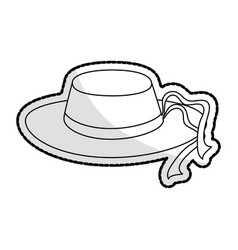 Womens sun hat with ribbon icon image vector