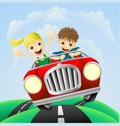 young man and woman in car vector image vector image