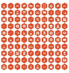 100 smuggling icons hexagon orange vector