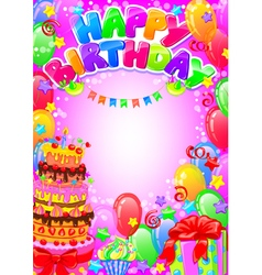 Happy birthday card with place for text vector
