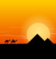 Camel Caravan and Pyramid vector image