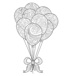 Group of balloons on a string coloring for vector image