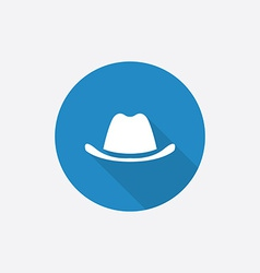 Classic hat flat blue simple icon with long shadow vector