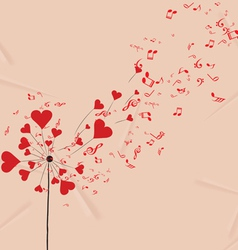 Dandelions hearts and music valentines romantic vector