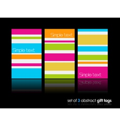 3 separate gift cards with lines vector