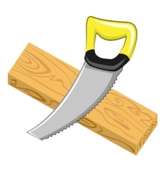 Handsaw and wood board vector