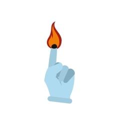 Burning finger flat vector