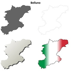 Belluno blank detailed outline map set vector